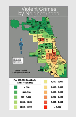 Violent Crimes by Neighborhood data map, Chicago