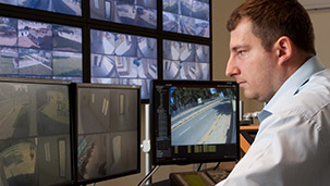 Protection 1 employee monitoring surveillance video screens
